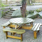 Picnic table right outside Styhead Tarn log cabin